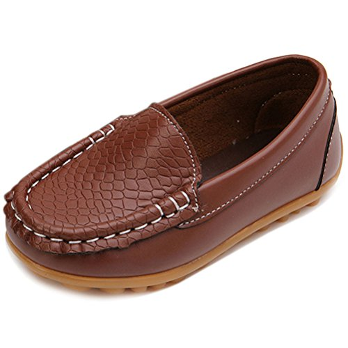 Femizee Kid Boys Girls Casual Dress Slip On Moccasin PU Leather Loafer Shoes,Brown,12 UK Child