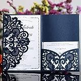 Hosmsua 20x Blau Hochzeit EinladungsKarten mit RSVP Karten Für Lasercut Elegante Blume Spitze Glückwunsch Einladung Karten , 20 Stück inkl Umschläge