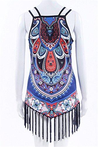 QIYUN.Z Elingue De Mode T-Shirt Couleur De Noix De Cajou Print Panicule Chemise Manches Tops Blouse Bleu