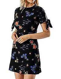 Frauen Rundhalsausschnitt-Blumendruck-Damen-Bindung Hülsen-Damen-Minikleid