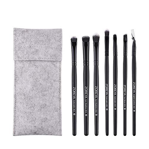 Productos de belleza femeninos 7pcs mujeres pinceles de sombra de ojos delineador de ojos cepillo de viaje portátil pinceles (negro)