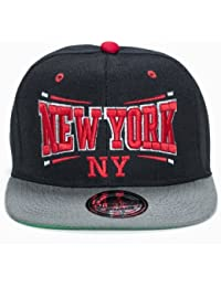 City Snapback Caps Big Letters New York, black/grey/red