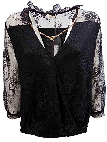 Camicia Donna TWIN SET SA6223 Pizzo Blusa Autunno Inverno 2016 Nero M
