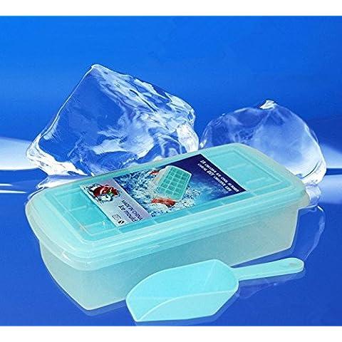 DINHAND per cubetti di ghiaccio con coperchio 18cubetti di ghiaccio Easy Release No Spill cubetti di ghiaccio con rimovibile, grande stampo per cubetti di ghiaccio con confezione sigillata libera Get raschietto per ghiaccio (Blu)