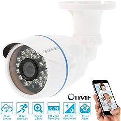 Owsoo Full HD 1080p Megapixel IP-Cloud Kamera CCTV Sicherheit Netzwerk Outdoor Indoor Bullet Überwachungskamera unterstützen P2P Android/iOS APP Onvif wetterfeste IR-CUT Filter Infrarot-Nacht Ansicht