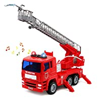 yoptote Fire Engine Toys EmergencyVehicles Fire Truck with Brights Lights and Water Pump Model Cars ConstructionToys for Kids Toddlers 3 4 5 Year Olds