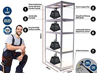 Garage Shelving Unit - 5 Tier EXTRA HD / Racking Shelf Storage Workshop - 180 x 90 x 45 CM - Best on Amazon