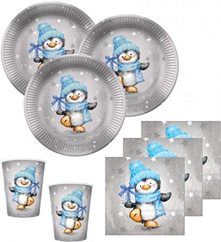48 Teile Pinguin Junge in Hellblau und Silber Deko Set für 16 Personen