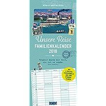 Unsere Reise Familienkalender 2018 – Retro Postkarten – Vintage Design – Nostalgic Art – Familienplaner mit 5 Spalten – Format 22 x 49 cm