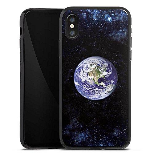 Apple iPhone X Silikon Hülle Case Schutzhülle Erde Earth World Silikon Case schwarz