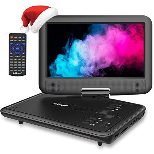 """ieGeek 11.5"""" Lecteur DVD Portable avec Écran Pivotant Rotatif à 270°, Batterie Rechargeable de 5 Heures Jouer, Supporte Carte SD et Compatible avec MP3 / MP4 /RMVB/AVI, pour Enfants- Noir"""