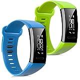 kwmobile 2en1: 2x Bracelet de remplacement pour le sport pour Huawei Band 2 / Band 2 Pro en bleu clair vert clair Dimensions intérieures: env. 16 - 22 cm - avec fermoir de montre sans tracker