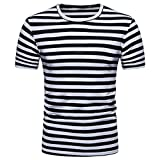 T-Shirts,Honestyi 2018 Klassisches Marine Streifen Basic T-Shirt Print Shirt Basic Crew Neck Tall & Slim Kurzarmshirt Sweatshirt Weste Tops, weich und luftig,Große Größe S-XXL (XL, Schwarz)