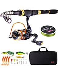 Sougayilang Fishing Rod Reel Combos Carbon Fiber Telescopic Fishing Pole with Spinning Reel for Travel Saltwater Freshwater Fishing …