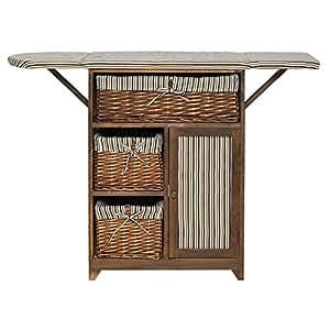 mobili rebecca schrank arbeitsplatz f r n hen basteln 1 t r 3 rattank rbe stoff holz braun. Black Bedroom Furniture Sets. Home Design Ideas