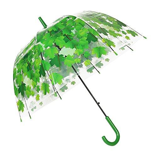 Durchsichtiger Regenschirm von TOSOAR® Transparente Hochzeitsfeier Kuppel-Förmigen Lampenschirm Pilz Umbrella Blase romantische Kirschblüten Maple klar Regen Regenschirm halb-Automatik (Grün)