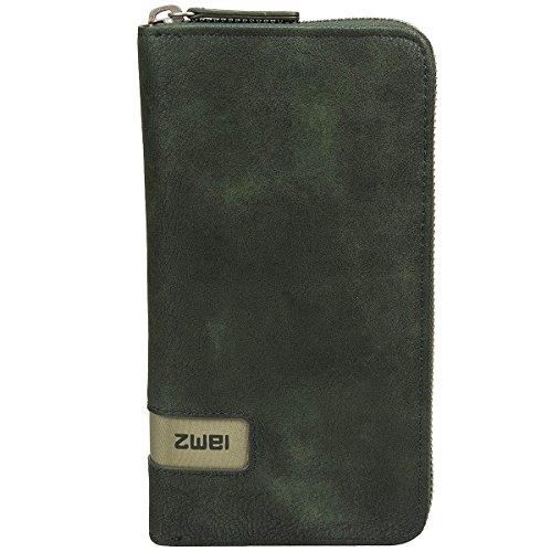 Zwei Wallet MW2 Reißverschluss Geldbörse Portemonnaie Geldbeutel Brieftasche, Farbe:Olive