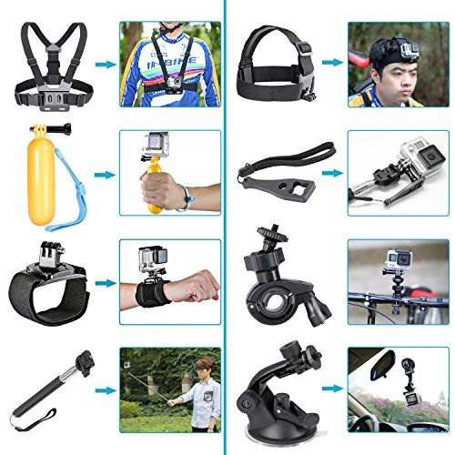 Neewer 90084038 12-in-1 Sport Accessory Kit for GoPro (Black)