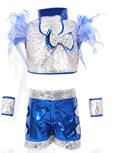 EOZY Mädchen Glitzer Tanzen Kostüme Jazz Bekleidung Set Dancing Kostüm (Tanz Mädchen Für Jazz Den Für Kostüme)
