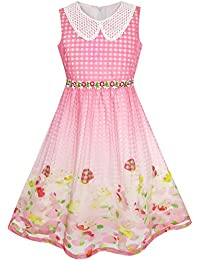 81c31b8bce5 Sunny Fashion Robe Fille Blanc Collier Floral Princesse Anniversaire 5-12  ans
