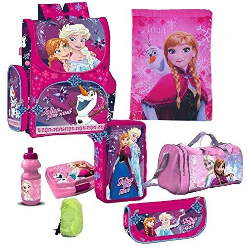 Frozen die Eiskönigin Disney 8 Teile Schulranzen Tornister mit Sticker von Kids4shop RANZEN Schulrucksack Federmappe Tasche Set (Tasche 8-teilig)