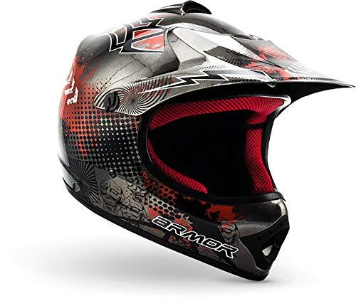 Armor · AKC-49 'Titan' (silver) · Casco Moto-Cross · Bambino Motocicletta Quad Scooter Racing Off-Road · DOT certificato · Click-n-SecureTM Clip · Borsa per il trasporto · L (57-58cm)