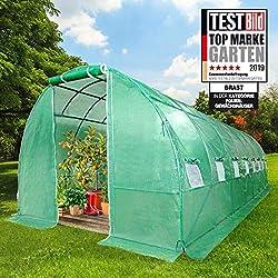 BRAST Serre de Jardin Tunnel 24m2 (3x8), extrêmement stable : Tubes d'acier galvanisés et Film spéciale de protection grillagé 175 g/m2, aération optimale, montage rapide, Serre de jardin tomate