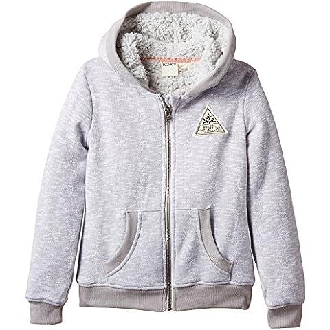 Roxy Swift Drift Sherpa - Sudadera con capucha y cremallera para niñas, color gris, talla M