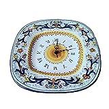 Orologio Quadro in Ceramica di Deruta decoro Ricco Blu