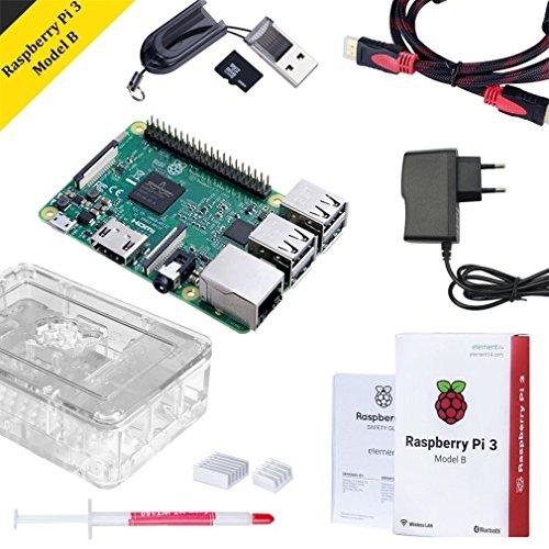Raspberry Pi 3 Model B Set mit 32 GB SD Karte, HDMI,Netzteil und Gehäuse,Kühlkörper