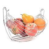 KBSIN212innovative Continental di alta qualità in acciaio INOX Swing Fruit basket Fruit Cradle frutta piastra di scarico cestino filo argento fruttiera cestino per cucina e tavola decorazione, argento