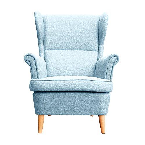 myHomery Sessel Luccy gepolstert - Ohrensessel Polsterstuhl für Esszimmer & Wohnzimmer - Lounge Sessel mit Armlehnen - Eleganter Retro Stuhl aus Stoff mit Holz Füßen - Hellblau | Sessel