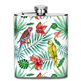 Fiaschette Presock, Watercolor Parrot Palm Branches 304 Food Grade Stainless Steel Flask 7 Oz Best Birthday Gift Present for Women Men