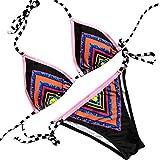 Amlaiworld Sommer Bunt Gestreift Pailletten Bikini Set Strand Funkelnde Push-up Bademode Elegant Band Beachwear Damen Mode Badeanzüge (L, Schwarz)