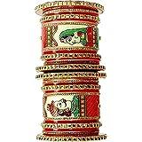 Shanaya Trader's Plastic Gold Plated and Cubic Zirconia Chuda Bangles Set for Women & Girls   Rajasthani Rajputi Handcrafted