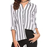 Long Sleeve Tops Womens Girls Long Sleeve Moonuy Women Fashion Long Sleeve Blouse V Neck T-Shirt Sexy Striped Top Shirt Blouse Tops Casual Outdoor Tops