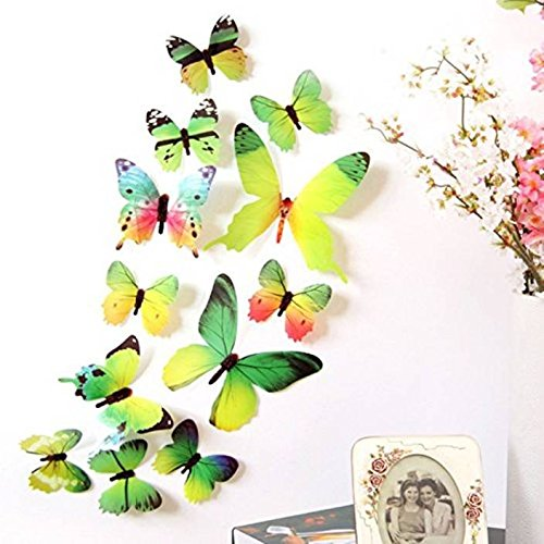 DALUCI PVC Decal 3D Butterfly Rainbow Wall Stickers (Green, 12 Pieces)
