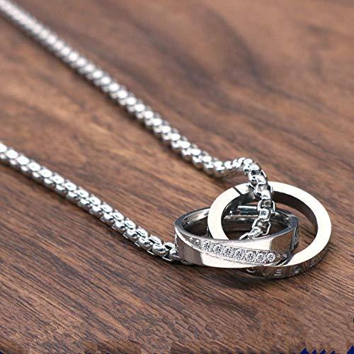 Doppelring Halskette Männer Titan Stahl Anhänger Schlüsselbein Kette Persönlichkeit Flut männlichen Anhänger Student Anhänger Schmuck Zubehör @ Frauen Titan Stahl Perlenkette