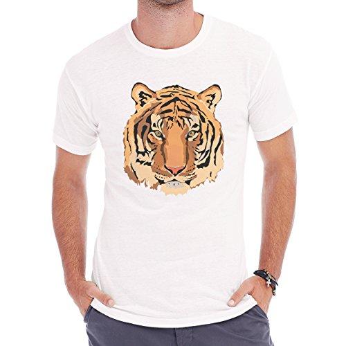 Tiger Big Cat Animal Animated Head Herren T-Shirt Weiß