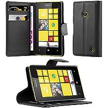 Cadorabo - Funda Nokia Lumia 520 Book Style de Cuero Sintético en Diseño Libro - Etui Case Cover Carcasa Caja Protección (con función de suporte y tarjetero) en NEGRO-FANTASMA
