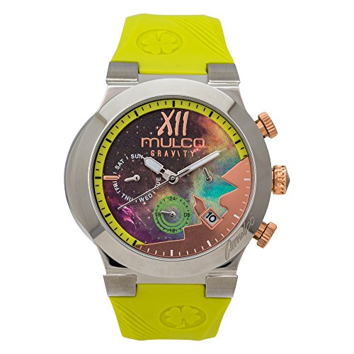 Mulco Gravity Galaxy Analog Chronograph Watch - Premium Multicolor Analog Sundial With Green 100% Silicone Band- Rose Gold Accents- Water Resistant Stainless Steel -Women's Mw5-4977-493
