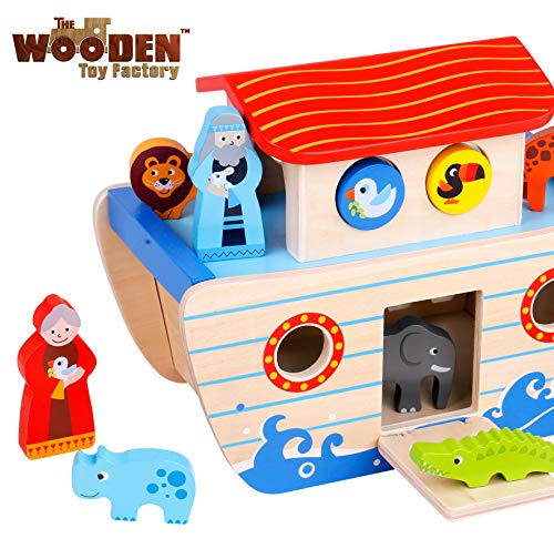 The Wooden Toy Factory - Noah's Ark Playset Wooden Shape Sorter - Educational Toy