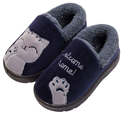 KVbabby Boys Girls Soft Plush Cute Cat Winter Slippers Warm Kids House Shoes Anti-Slip Slip On Cotton Outdoor Bedroom Slippers Womens Mens