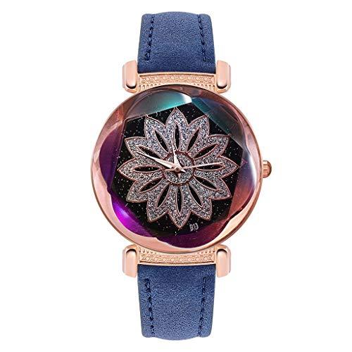 Uhr Armbanduhren Männer Damenuhren Hansee Luxusuhren Rautenmuster Quarzuhr Edelstahl Armbanduhr Watch Uhren Herrenuhr(Blau)