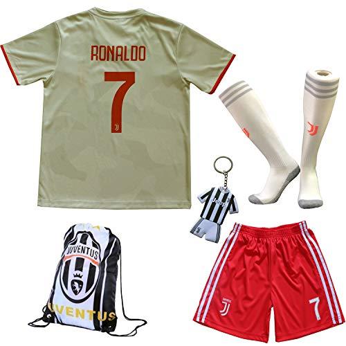 TMB Neu 2019/2020 Juventus #7 Cristiano Ronaldo Weiß Auswärts Auswärtstrikot Kinder Fußball Trikot Hose und Socken Kindergrößen (Weiß, 24 (7-8 Jahre)) - Weiße Hosen-socken