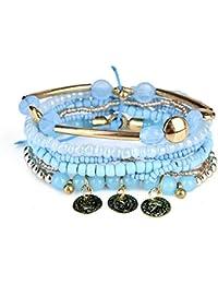 JAJAFOOK Vintage Tube en métal Multicouche Bracelet de Perles de bohème Charm Stretch Bracelets Ensemble de Bijoux