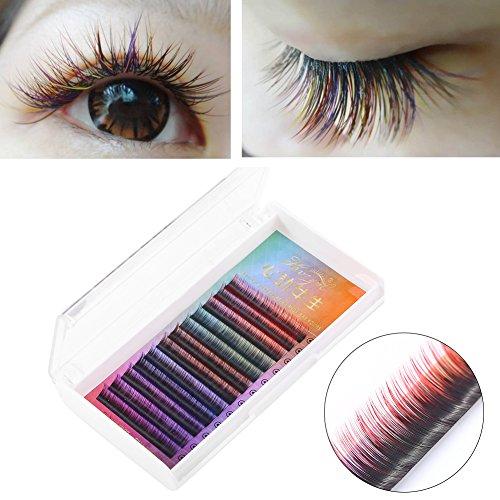 5 colores pestañas falsas del arco iris 3D del gradiente compone las extensiones de la pestaña utilizar a bar, cita, fiesta y boda etc (8 mm)