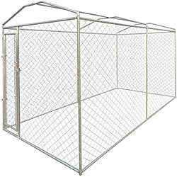 Festnight Hundezwinger Hundehütte Hundehaus aus Stahl mit Verdeck 200 x 400 x 235 cm