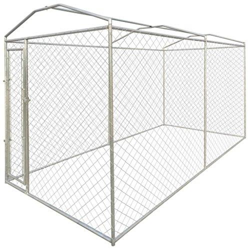 Festnight Hundezwinger / Kleintervoliere aus Stahl, 200 x 400 x 235 cm