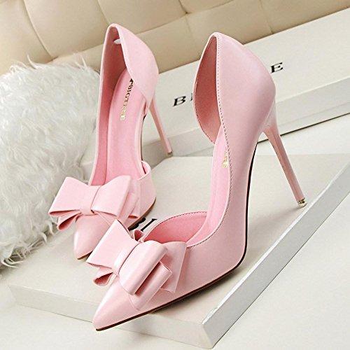 Printemps Été Femmes Pompes Sweet Bowknot Chaussures à talons Chaussures fines Chaussures à talons hauts Pointu Stiletto Pink